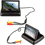 E-best® 4.3 Foldable TFT Color LCD Car Reverse Rearview Monitor Screen;16:9 4.3inch Foldable Vehicle TFT Color LCD Screen Display Rearview Monitor for Parking Camera VCR DVD VCD
