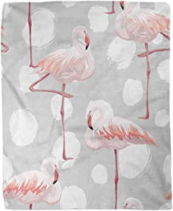 rouihot 60x80 Inches Flannel Throw Blanket Gray Melange Pink Flamingo Africa Beauty Bird Dot Elegance Home Decorative Warm Cozy Soft Blanket for Couch Sofa Bed