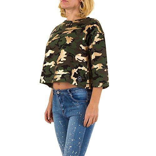 Sixth June Kurzes Camouflage Sweatshirt Für Damen , Grün In Gr. S bei Ital-Design