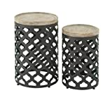 Deco 79 58542 Metal Wood Accent Tables (Set of 2), 22″/25″ For Sale