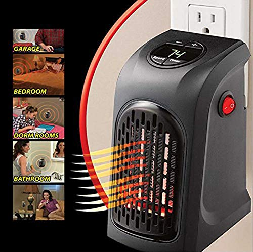 Vaughenda Space Heater Handy Heater for Home and Office, Mini Ceramic Heater Adjustable Electric Heater Fan with Thermostat, US Plug, 400w by Vaughenda (Image #4)