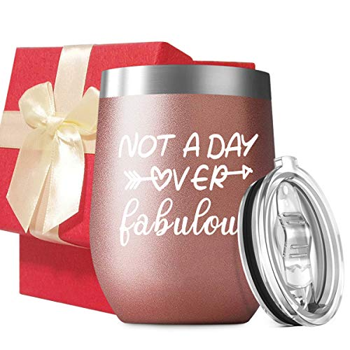 (Not A Day Over Fabulous - Stainless Steel Insulated Wine Tumbler with Lid - Funny Novelty Birthday Mothers Day Retirement Gifts Ideas for Her Women - 30th 40th 50th 60th)