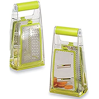 Native Spring Box Grater Cheese Vegetable Slicer with Interchangeable Stainless Steel Blades and Catcher Best for Food Preparation