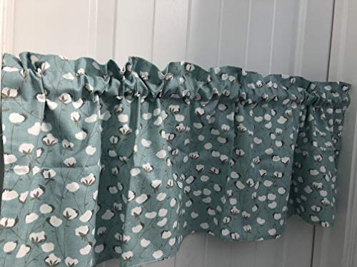 Cotton Blue and White Flower Curtain Valance (Floral Valance Fields)