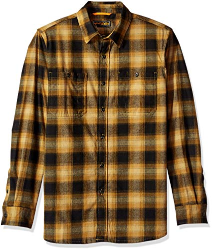 Walls Men's Midweight Brushed Flannel Shirt with Stretch, Rustic Pecan Ombre, 2X Large