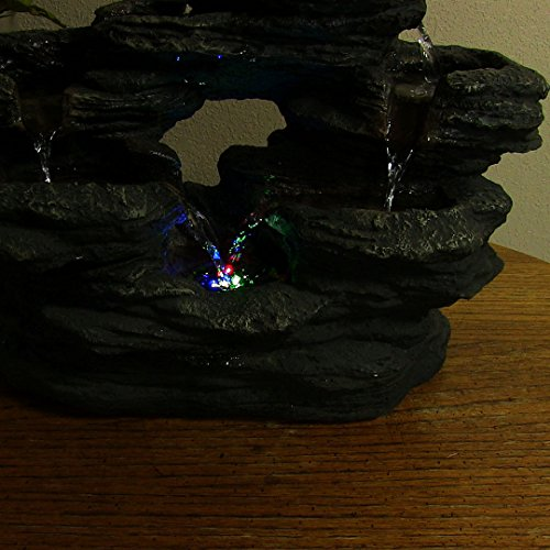 Sunnydaze Two Stream Rock Tabletop Fountain with LED Lights, 15 Inch Wide x 9 Inch Tall