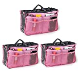 Go Beyond (TM) Travel Insert Organizer Compartment Bag Handbag Purse Large Liner Insert-Organizer Tote Bag (Bundle of 3 Pink)