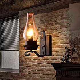LightInTheBox Retro Rustic Nordic Glass Wall Lamp Bedroom Bedside Wall Sconce Vintage Industrial Wall Light Fixtures