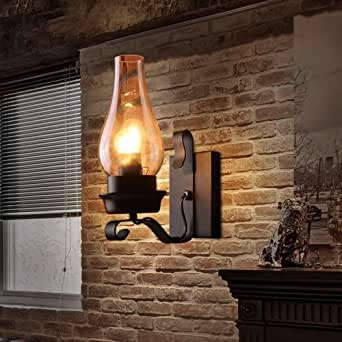 L.T.Home Retro Rustic Nordic Glass Wall Lamp Bedroom Bedside Wall Sconce Vintage Industrial Wall Light Fixtures