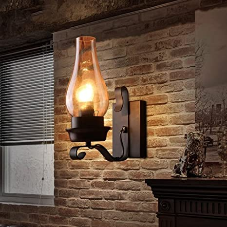 LightInTheBox Retro Rustic Nordic Glass Wall Lamp Bedroom Bedside ...