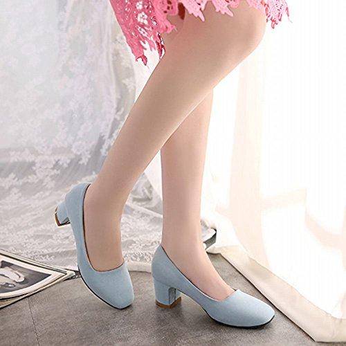 Charm Foot Donna Ufficio Lady Tacco Medio Scarpe Con Tacco Vertiginoso Blu