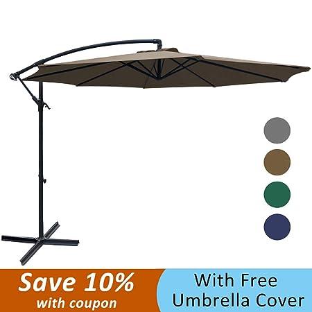 SUNGREEN Offset Patio Umbrella 10ft Outdoor Market Cantilever Umbrella with Crank Lift Cross Base for Garden Backyard Deck and Poolside-Brown