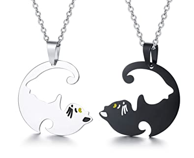 fef02a9ad8 Amazon.com: PJ Stainless Steel Yin Yang Pet Cat Puzzle Piece ...