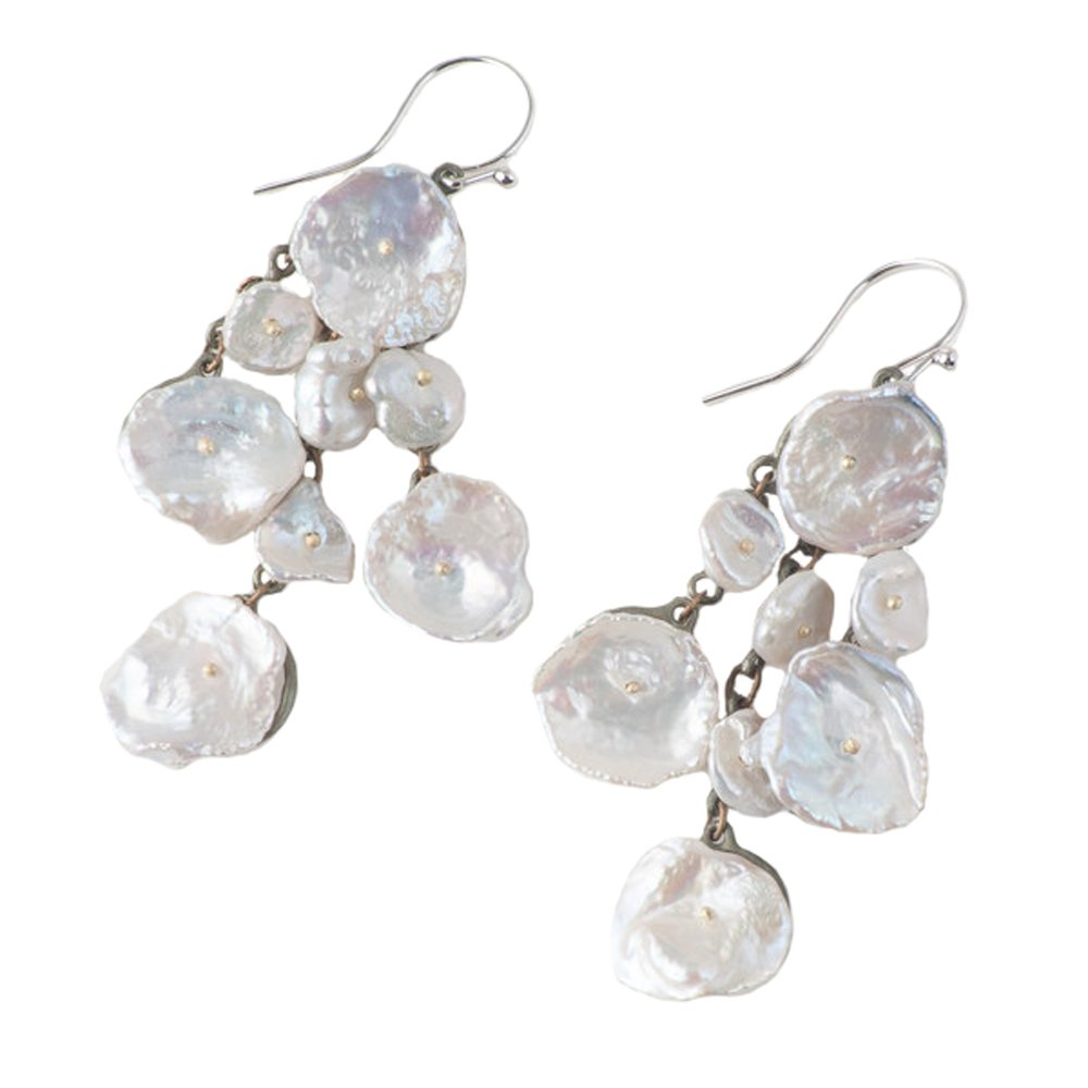 ''Silver Dollar'' Shower Drop Earrings by Michael Michaud for Silver Seasons…