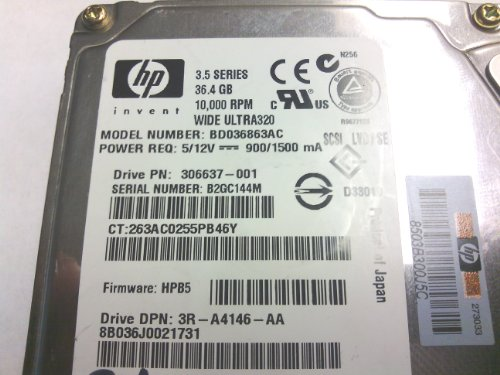 HP-BD036863AC-36.4GB 10KRPM U320 SCSI 3.5'' HOT SWAP HDD by HP