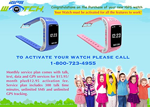 Kids GPS Wrist Watch Phone with Real-time GPS Tracking / SOS Emergency Call  / (Pink)