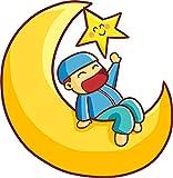 Shinobi Stickers Cute Simple Muslim Islamic Kid on Moon Cartoon Vinyl Sticker (12'' Tall)