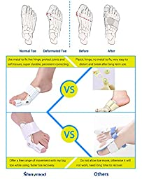 Shinymod Bunion Splint Toe Separators Brace Kit - 1 Hallux Valgus Orthotics, 2 Toe Bunion Strecher Corrector Gels 2 Silicone Toe Spacers for Pain Relief Hammer Toes Claw Toes Bent Toe Men Women