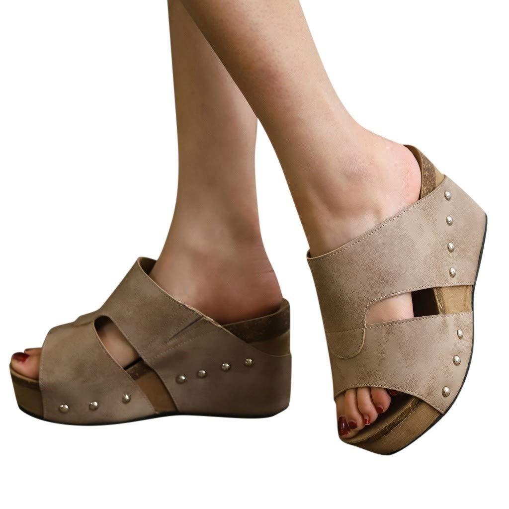 Women's Slides Bummyo Women Summer Wedges High-Heeled Sandals Rivet Beach Sandals Boho Casual Shoes Platform Slipper(8M US, Beige)