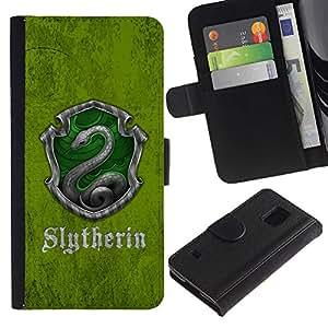 LECELL--Cuero de la tarjeta la carpeta del tirón Smartphone Slots Protección Holder For Samsung Galaxy S5 V SM-G900 -- Slytherin Escudo --