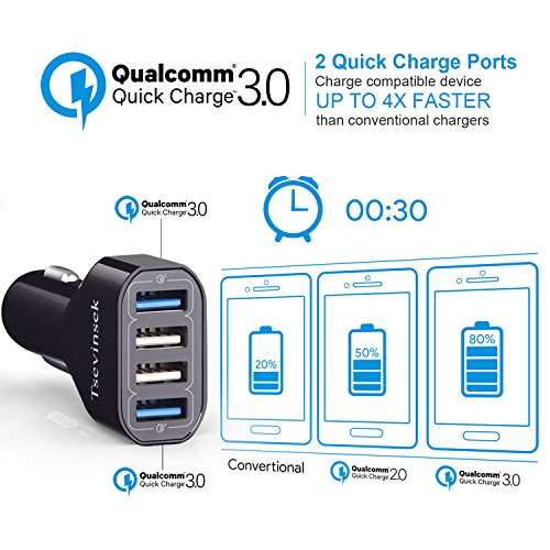 USB Car Charger, Tsevinsek 48W Quick Charge 3 0 Fast Car Charger Adapter  with 4 Ports for Samsung Galaxy S10 S9 S8 S7 Plus, Note 9 8, iPhone Xs Max  XR