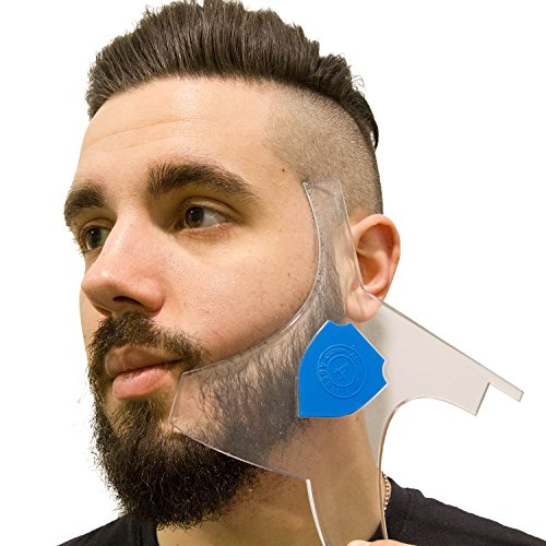 Aberlite Beard Shaper - Beard Lineup Tool w/Barber Pencil - 100% Clear | Many Styles | Long Edges | Anti-Slip - The Ultimate Beard Shaping Template (Patent Pending) (Blue) - (Trimmer Buddy)