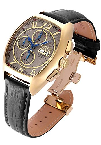 Invicta Men's 'Reserve' Swiss Automatic Gold and Leather Casual Watch, Color:Black (Model: 18921)
