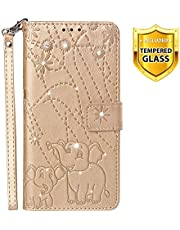 Boloker Case for Xiaomi Pocophone F1 [with Tempered Glass Screen Protector], [Kickstand] Retro Flip Case Elegant Vintage Diamond Design PU Leather Protective Case (Gold)