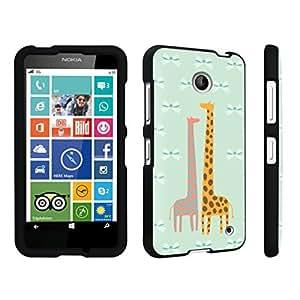 linJUN FENGDuroCase ? Nokia Lumia 630 Hard Case Black - (Giraffe Bow)