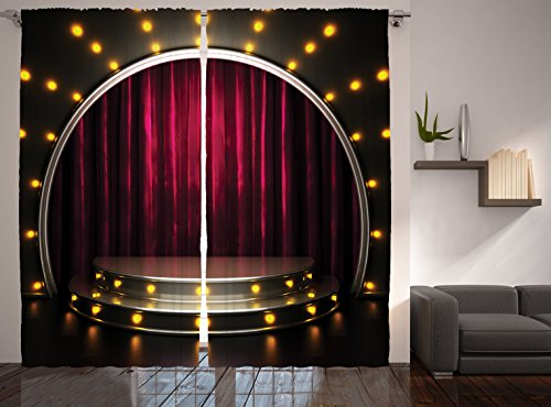 Restaurant Supplies Enjoying Theatre Arts Decor Stage Drapes Print Curtains for Bedroom Living Kids Ball Room Modern Talent Show Decorations Two Panels Set 108 X 90 Inches, Burgundy Yellow Black (Home Theater Supplies compare prices)