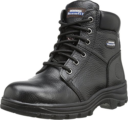 (Skechers Work Relaxed Fit Workshire Peril ST Womens Steel Toe Boots Black 8 W )
