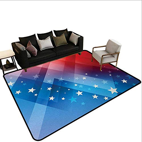 Living Room Rugs 4th of July,Independence Day Themed Abstract Diamond Rhombus with Star Liberty Freedom,Red White Blue,for Living Room Bedrooms Kids Nursery Home Decor 3'x 4' ()