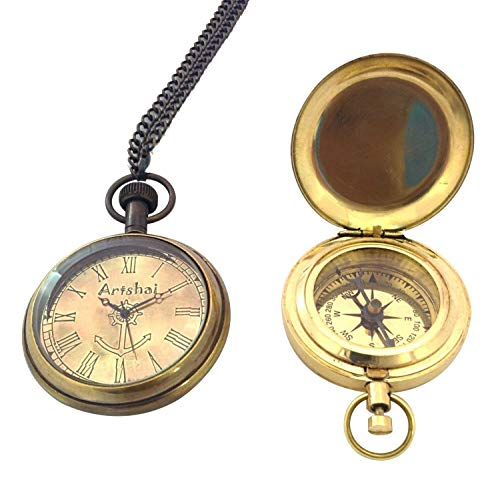 Artshai Combo of Pocket Watch and Push Button Magnetic Compass - Compass Pocket Watch