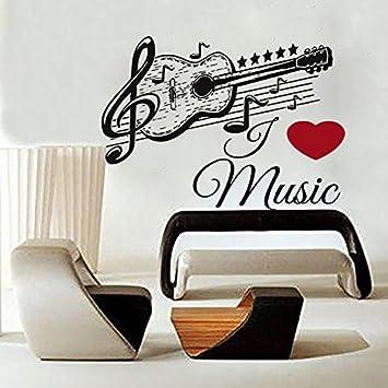 musical de vinilo para pared msica adhesivo guitarra patrn para la escuela estudio decoracin del hogar