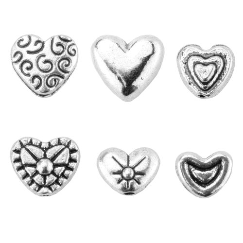 Heart Charm Findings (BEADNOVA 80pcs Tibetan Silver Sweet Heart Spacer Charm Beads For Jewelry Findings Making with Free Plastic Container Mix Lot Box Set)