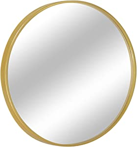 "MORIGEM Round Mirror, 31.5"" Wall Mirror, Wall-Mounted Mirror for Bedroom, Bathroom, Living Room & Entryway, 1.4"" Metal Frame Vanity Mirror, Gold"