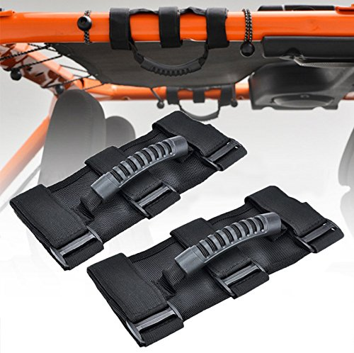 Holoras 2 Pack Grab Handle Set for Jeep Wrangler Roll Bars Black Grab Bar Handle Easy-to-Fit 3 Straps Design for Jeep 1987-2018 Models