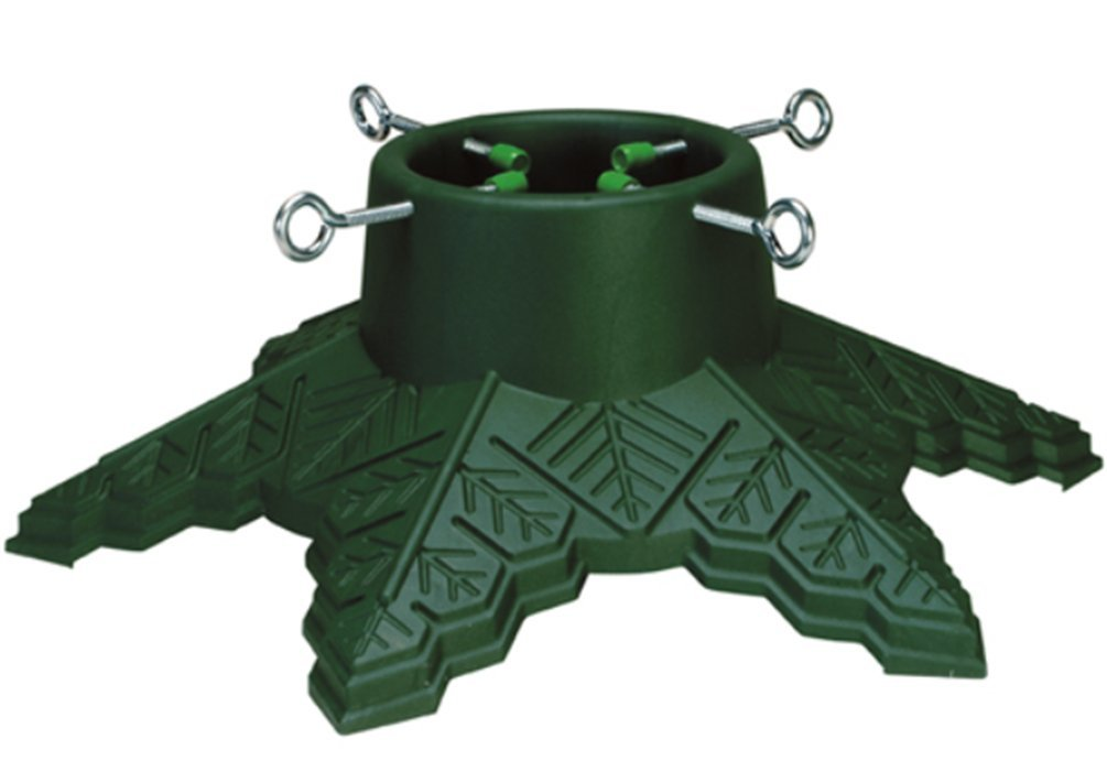 CLB Snowflake Christmas Tree Stand Green Plastic For Trees Up to 7 Ft Tall With a Max 4 Inch Trunk
