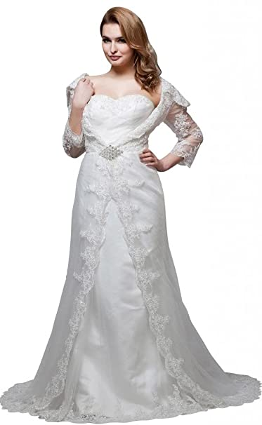 George Bride 3/4 aermel Punta ueber satén perlas vestido de novia vestido de boda Vestidos de novia Vestidos de Boda: Amazon.es: Ropa y accesorios