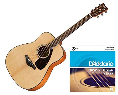 Yamaha FG800 Acoustic Folk Guitar Solid Top - Naturalw/3 Sets D'Addario EJ16 Strings