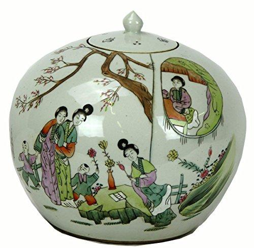 Round Vintage Chinese Famille Rose Porcelain Vase
