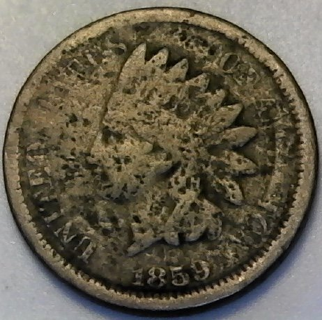 1859 Indian Head Cent - 1859 P Indian Head First Year Of Indian Head Penny Cent AG