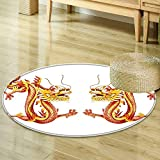 Mikihome Round Area Rug Dragon Decor Collection Identical Twin Dragons on Symmetric Axis Religious Mythic Featured Heritage Animal Design Orange Red Living Dinning Room & Bedroom Rugs R-35