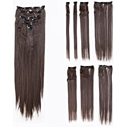 SWACC Women 22 Inches Straight Full Head 7 Separate Pieces Heat Resistance Synthetic Hair Clip in Hair Extensions (Chestnut Brown-6#)