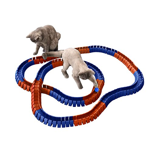 (Magic Cat Track and Ball Toy Double Size for cats, kittens, pets, kitties, consisting of 16' flexible tracks and 4 balls)