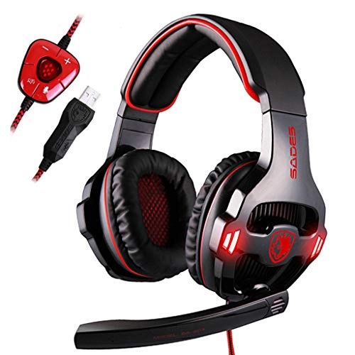 Price comparison product image BIYATE Gaming Headset for Xbox One / PS4 Controller,  PC,  Wired Surround Sound Gaming Headphones with Noise Cancelling Mic,  Headset for Nintendo Switch / 3DS,  Mac,  Destop Computer Games
