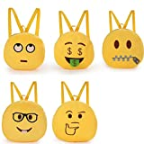 Whatsin Backpacks Emoticon Emoji Soft Plush Childrens School Bag Lunch Boxes Bookbag Shoulder Bag Kids Toy (9#)