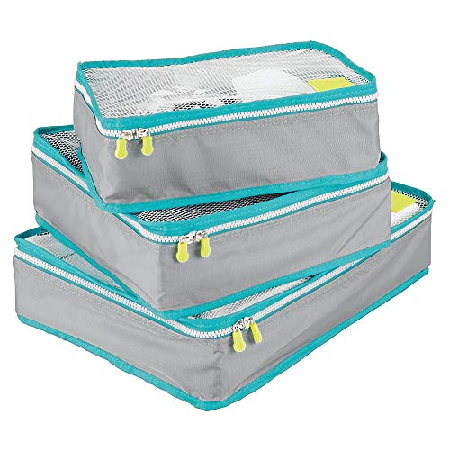 mDesign Versatile Travel Storage Organizer Cubes: Mesh Tops, Integrated Handles and Two-Way Zippers: Perfect for Packing Luggage/Suitcase and Carry-On – Set of 3, Gray/Teal Blue Trim, White Zipper from mDesign