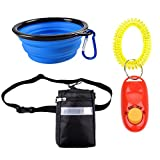 BUYITNOW Dog Treat Pouch with Adjustable Strap - with Training Clicker & Collapsible Travel Bowl
