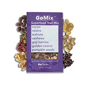 GoMix Organic Energy Snack Fruit and Nut Mix Snack Pack, GoCacao, Sweet Cacao, 7 Simple Ingredients No Nonsense! (Pack of 12), Low Sugar, Gluten Free, High Fiber, Non GMO, Vegan, Paleo